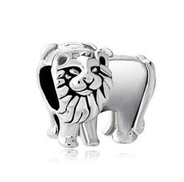 Wholesale Cheap Pandora Beads Wholesale - Cheap sale Silver Color Plating King Lion Bead Natural Animal Life Charm Fit Pandora Charms Bracelet