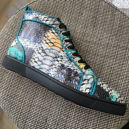 Wholesale Colorful Womens Shoes - New Mens Womens Colorful Snakeskin Genuine Leather High Top Red Bottom Sneakers,Brand Design Casual Shoes 35-47 Drop Shipping