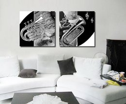 Wholesale Contemporary Wall Decorations - Contemporary Brass-Wind Instrument Picture Giclee Print On Canvas Home Wall Decoration Art Set20073