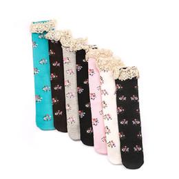 Wholesale Girls Lace Long Socks - 2016 floral baby girl cotton knee socks children long socks with lace kids sock 7 colors ZJ-38