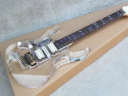 Wholesale Electric Guitar Lights - Customzied Left Handed Acrylic glass Electric Guitar with LED Light,White Pickups,Maple Neck,Gold Hardware,Can be changed