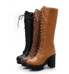 Wholesale Thick Heel Womens Shoes - Autumn Winter New England Martin boots Thick with Thick base Women boots Front lace High - heeled high boots womens shoes