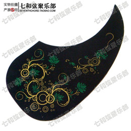 Wholesale Image Guitar - Wood guitar protective panel 40 and 41 inch folk guitar backplate black background with flower image