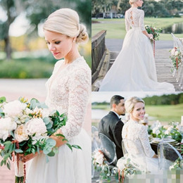 Wholesale Black Open Back Pearl Dress - Modest 3 4 Long Sleeve Tulle Wedding Dresses Open Back Vintage Lace Pearls Chapel Train V-Neck 2017 Country Garden Bobo Bridal Wedding Gowns
