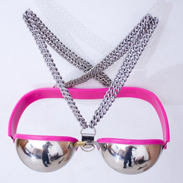Wholesale Sex Sexy Bra - Female Sexy Stainless Steel Bra Chastity Belt Device Bondage Restraint BDSM Sex Toys For Couples Sex Products