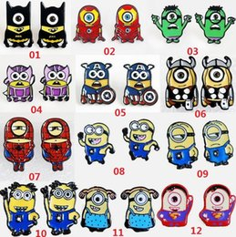 Wholesale Despicable Jewelry - Despicable Me Minions Cosplay Captain America Superman Spider-Man Batman Thor Iron Man Stud Earring Ms cartoon jewelry earring