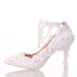Wholesale White Sequin Prom Shoes - Beautiful White Bride Shoes Lace Platform Formal Dress Shoes with Ankle Straps Glitter Sequins Party Prom Pumps Pointed Toe