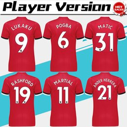 Wholesale New Player Version home red Soccer Jersey POGBA Soccer Shirt Customized LUKAKU MARTIAL RASHF football uniform Sales
