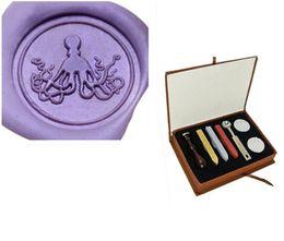 Wholesale Vintage Octopus - Custom Logo Wedding Invitations Vintage Luxury Gift Box Cute Octopus Wax seal stamp kit