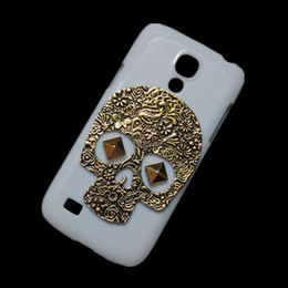 Wholesale Retro S4 Mini Cover - Back Case for Samsung Galaxy S4 Mini I9190, Punk Stud Rivet Vintage Retro Bronze Metallic Skeleton Skull White Hard Protective Skin Cover