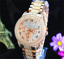 Wholesale Golds Black Dial - Fashion Watches michael Quartz Watch Casual Full Steel Dial Style woman All over the sky stars Crystal Diamond Rome Word Dial Style Watches