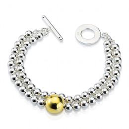 Wholesale Double Strand Set - 5PCS Lot Free Shipping Wholesale 925 Sterling Silver Double dichroic Beads Bracelet Silver Jewelry Charm Bracelet