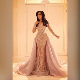 Wholesale Sheer Over Sequin Dress - Arabic 2017 Sheer Long Sleeves Lace Evening Gowns with Organza Over Skirt Mermaid Prom Party Dresses