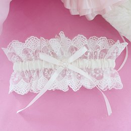 Wholesale Garter Accessories - Tulle Lace Bridal Garter Ribbon Satin Bowknot Wedding Accessories Bridal Leg Garters Belt 2017 New Style
