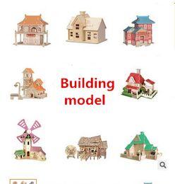 Wholesale Wholesale Wooden Puzzles Boxes - 3D wooden jigsaw building housing 3D model DIY self-assembly action figure puzzle pieces children's Christmas presents