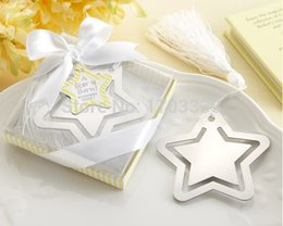 Wholesale Baby Shower Stars - 300PCS Home Party Favor GIft Box Hollow Out Star Bookmark With White Tassel For Baby Shower Christening Wedding Favours Bomboniere