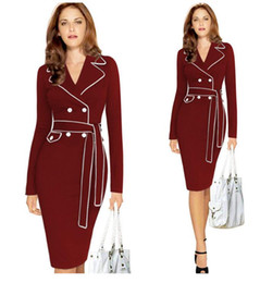 Wholesale Elegant Mature Woman - New Fashion European Stations Autumn Winter Long-Sleeved Hit Color Tight Pack Hip Dress Suit Collar Elegant Mature Women Dress Plus Size Dre