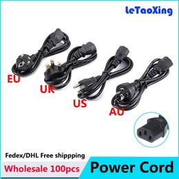 Wholesale Video Printers - 100pcs Universal 3 Prong AC Power Cord Cable 1.2M UK EU US AU Plug for Desktop Printers Monitors Free shipping