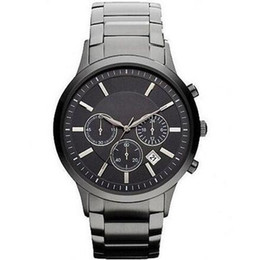 Wholesale Mens Classic Watches - 2015 Mens Fashion Classic Chronograph Gunmetal Ion Steel Black Men's Watch AR2453