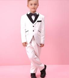 Wholesale Small Children Picture - Pure white collocation small elegant black dress suit boys dress Notched Lapel Children Suit Kid Wedding Prom Suits(jacket+pants)