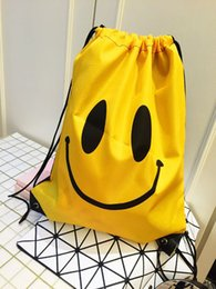 Wholesale Drawstring Canvas Backpack - Smile Face Emoji Drawstring Bags Yellow Color Cartoon Backpacks for Adult Children Fashion Travel Bags Wholesale Children Student Bags