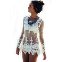 Wholesale Women See Through Bikinis - 2016052939 2016 Sexy Women Blusas See-through Crochet Lace Blouse Long Sleeve Beach Swimsuit Bikini Cover Up Embroidery Summer Women Tops