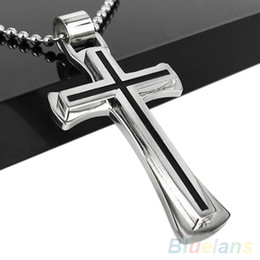Silver cross à vendre-Gros-Hommes Femmes cool Chain Black Silver Stainless Steel Cross Pendant Necklace 1QFM