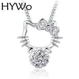 Wholesale Necklace Ball Diamonds - HYWo (without chain) Katie 925 Silver Shambhala full diamond ball pendant necklace Hypoallergenic jewelry gift for women
