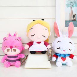 "Wholesale White Cat Stuffed Animal - New arrival 100% Cotton 3pcs Lot 8"" 20cm Alice in Wonderland Alice Cheshire Cat White Rabbit Plush Doll Stuffed Animals Toy Gifts"
