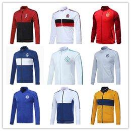Wholesale Men S Suit Jacket Wholesale - 17 18 Real Madrid jacket RONALDO JAMES BALE RAMOS MODERIC 2017 AC milan long sleeve paris tracksuit Chelsea training Suits Whosale