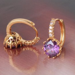 Wholesale Earring Leverback - Fashion amethyst stylish 24k yellow gold filled hoop earings purple crystal earing lady's leverback earring E006d