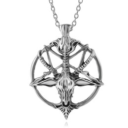 Wholesale Pentagram Metal - Fashion Inverted Pentagram Goat Pan God Skull Head Pendant Necklace Satanism Occult Metal Vintage Silver Star Statement Jewelry