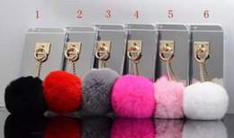 Wholesale Cover Note Rabbit - Fashion Colorful electroplated mirror Rabbit Fur Ball Ring Stand Soft TPU Back cover Phone Case For 5 6s 6s Plus Samsung Note 5 S6 edge S7