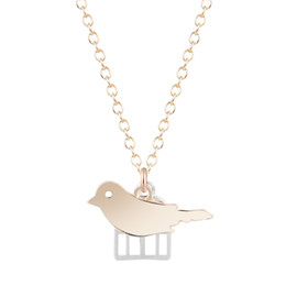 Wholesale Necklace Bird Cage - 10pcs lot New Unique Pendant Necklace Minimalist Jewelry Gift for Gir Women Bird Cage Necklace Free Shipping