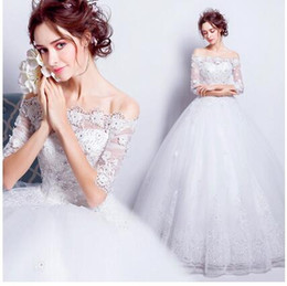 Wholesale Good Wedding Pictures - 2017 Cheap Good quality Real Image ball gown Wedding Dress Bateau Sweep Train Appliques Lace Up Vintage Garden Country Wedding Bridal Gowns