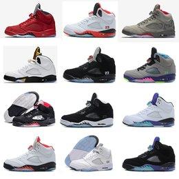 Wholesale Bel Sports - retro 5 white cement red blue suede women men camo basketball shoes Oreo bel air metallic black white grape 5s sports shoes sneakers