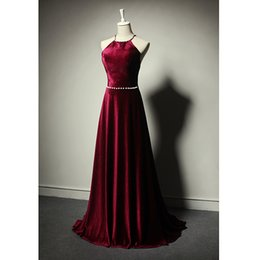 Wholesale Dress Winters - 2017 Fall Winter Burgundy velvet Evening Dresses Sexy Backless Spaghetti Sweep Train Long Prom Gowns Evening Wear High Quality