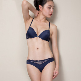 Wholesale front panties - Intimates Drop Shipping 2015 New Women Sexy Y-line Straps Bra Sets Front Closure BRA + Hollow out Panties Lace Sexy BRA SETS