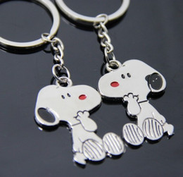 Wholesale Peanuts Silver - Snoopy Peanut Dog Keychain Cartoon Keyring Key Cute Creative Gift Lovers Key Ring Couple Keychain Rings Snoopy advertising