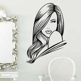 Wholesale Long Car Mirror - Pretty Long Hair Girl Wall Decals Beauty Salon Living Room Decorative Art Black Car Wall Sticker Adesivo De Parede Wallpaper