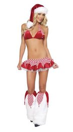 Wholesale Sexy Christmas Lady Outfits - Ladies Sexy 5 Piece Christmas Santa Stripper Lingerie Fancy Dress Costume Outfit BLS3110 S-L