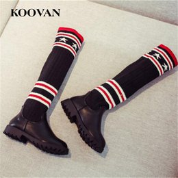 Wholesale Girls Size Socks - High Boots Socks Boots Big Size 26-37 Koovan plush Inside Winter Autumn Little Kids Shoes Soft Bottom Princess Shoes K509