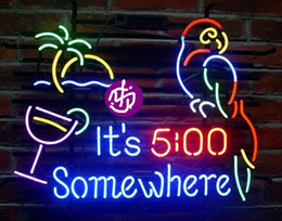Wholesale Neon Light Glasses - Brand New Larger It's 5 O'clock Somewhere Parrot Glass Neon Sign Beer light