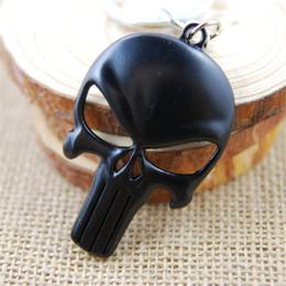 Wholesale Super Skull Rings - Retail Pack Super hero Black punisher skull Keychain key rings bag hangs pendants for women men keyring keychains jewelry 170431