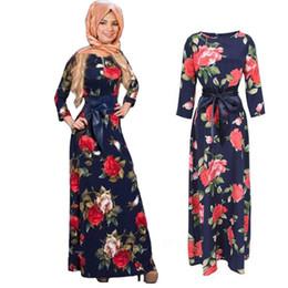 Wholesale hijab fashion abaya - Fashion Abaya Muslim long Dress Women Islamic jilbabs and abayas Printing hijab Clothing Turkish Clothes Turkey Musulmane Robe Modal dresses