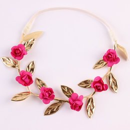 Wholesale Baby Headband Fashin DIY Rose Flower Gold Leaf Crown Floral Girl Garland Children Hair Accessories TD72