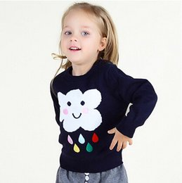 Wholesale Infant Cardigan Sweaters - Hot Fashion Toddler Girl Clothes Winter Fall Infant Baby Girl Sweater Cute Cloud Raindrop Pattern Cotton Top Babies Clothing