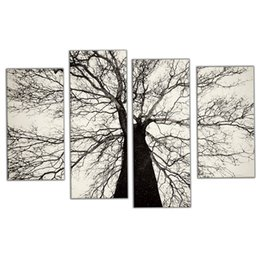 framed white floral paintings Promo Codes - Amosi Art-4 Pieces Modern Paintings Black and White Winter Tree Oil Painting Spray Pain Art Home Wall Decoration with Wooden Framed