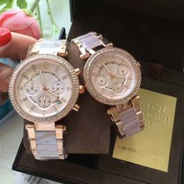 Wholesale Mk High Quality - New mk Rhinestone fashion luxury quartz waterproof wristwatch women high quality calendar week display brand watch