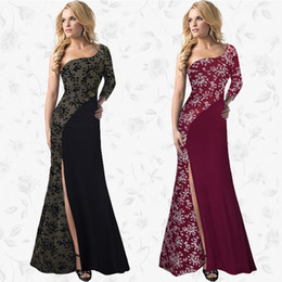 Wholesale Floor Panels Products - High Split Maxi Dress Elegant Party One-shoulder Evening Vestidos Printing Asymmetrical Large Swing Dresses 2017 New Product
